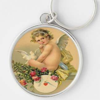 Vintage, Cupid Angel, Dove and Roses Key Chains