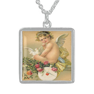 Vintage, Cupid Angel, Dove and Roses Pendant