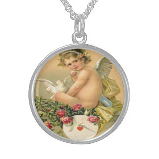 Vintage, Cupid Angel, Dove and Roses Pendants