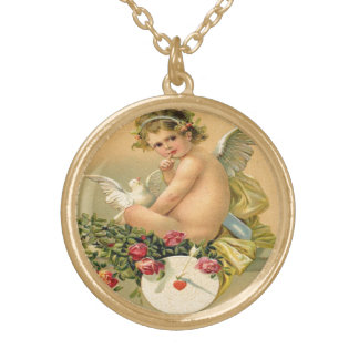 Vintage, Cupid Angel, Dove and Roses Round Pendant Necklace
