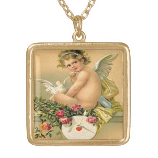 Vintage, Cupid Angel, Dove and Roses Square Pendant Necklace