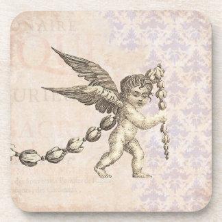 Vintage Cupid Antique Wedding or Engagement Beverage Coaster