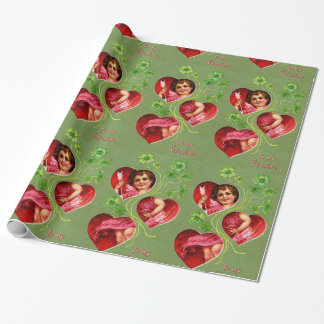 VINTAGE CUPID, ARROW AND VALENTINE'S DAY HEARTS WRAPPING PAPER