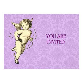 Vintage Cupid Illustration Custom Invitation