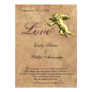 Vintage Cupid Love Wedding 6.5x8.75 Paper Invitation Card