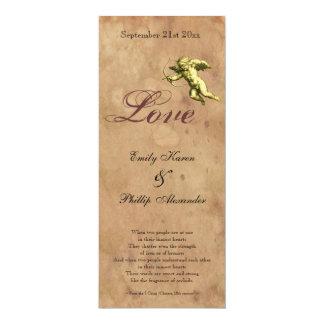 Vintage Cupid Love Wedding 4x9.25 Paper Invitation Card
