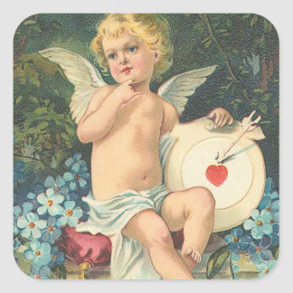Vintage Cupid & Mark Square Sticker