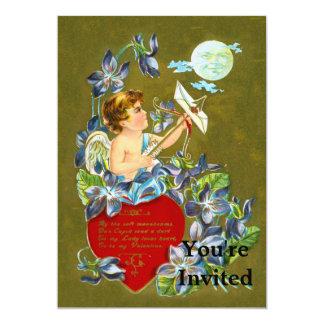 Vintage Cupid & Moonbeam Valentine 5x7 Paper Invitation Card