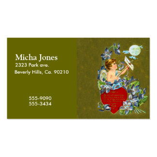 Vintage Cupid & Moonbeam Valentine Double-Sided Standard Business Cards (Pack Of 100)