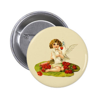 Vintage Cupid on Lily Pad Button
