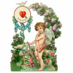 """Vintage Cupid Photo Sculpture<br><div class=""""desc"""">Whimsical cupid with arrows under floral arch with birds on photo sculpture.</div>"""