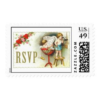 Vintage Cupid RSVP Postage Stamp