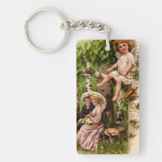 Vintage Cupid watches over lovers Keychain