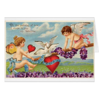 Vintage Cupids on a Seesaw Valentine Card
