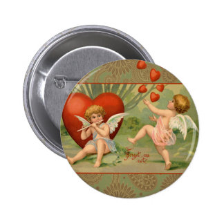 Vintage Cupids on Valentines Day with Hearts Button