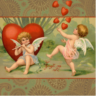Vintage Cupids on Valentines Day with Hearts Cutout