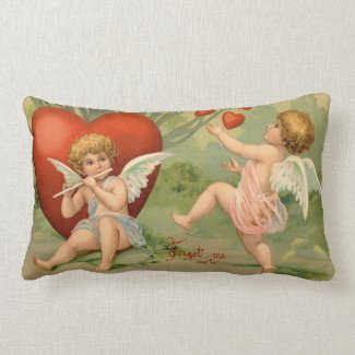 Vintage Cupids on Valentines Day with Hearts Pillow