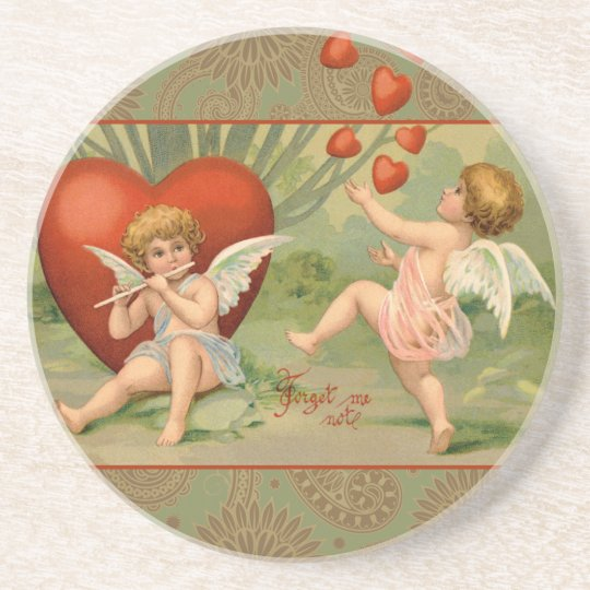 Vintage Cupids on Valentines Day with Hearts Sandstone Coaster