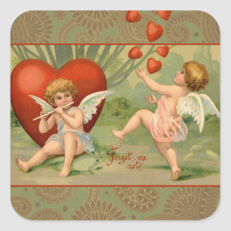 Vintage Cupids on Valentines Day with Hearts Square Sticker