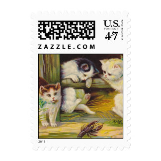 Vintage Curious Kittens Cats Play Crawdad Stamps