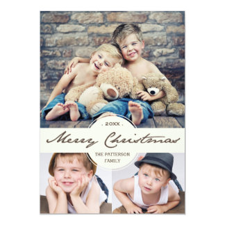 Vintage Cursive Merry Christmas Photo Collage Card