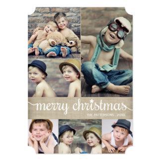 Vintage Cursive Merry Christmas Photo Collage 5x7 Paper Invitation Card