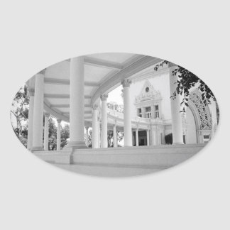 Vintage Curved Colonnade Oval Sticker