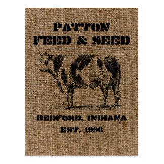 Vintage Custom Burlap Feed & Seed Advertising Postcard