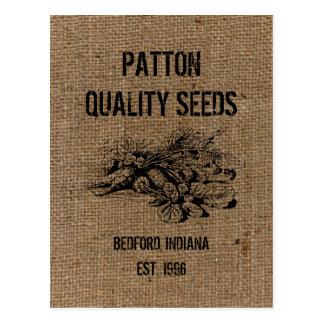 Vintage Custom Burlap Quality Seeds Advertising Postcard