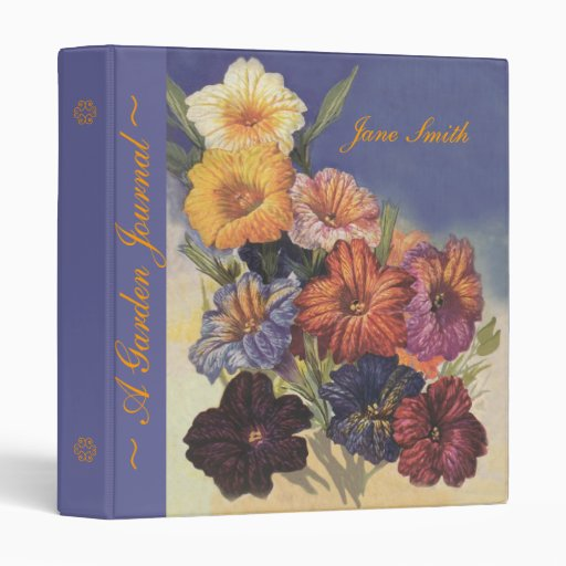Vintage custom floral design garden journal binder zazzle for Garden design journal