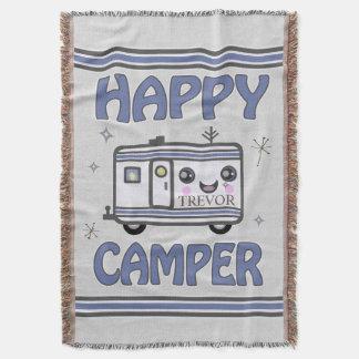 Vintage Custom Happy Kawaii Camper Throw Blanket