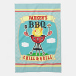 Vintage Custom Name Barbeque BBQ Towel