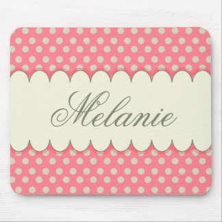 Vintage Custom Personalized Beige Pink Polka Dots Mouse Pad