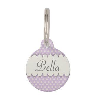 Vintage Custom Personalized Purple Polka Dots Pet Name Tag