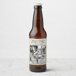 Vintage Custom Photo Collage Wedding Beer Bottle Label