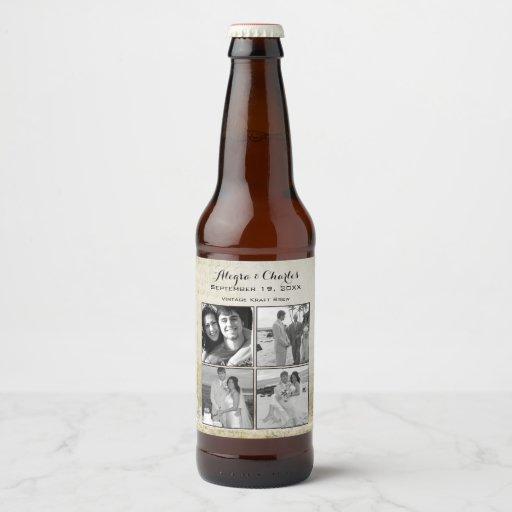 Custom Beer Bottle Labels Personalized Wedding By: Vintage Custom Photo Collage Wedding Beer Bottle Label