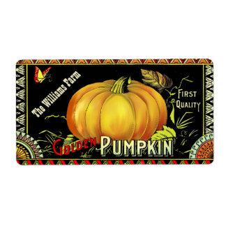 Vintage Custom Pumpkin Canning Gift Label