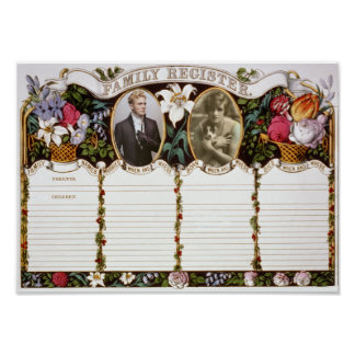 Vintage Customizable Family Register for Wedding Poster