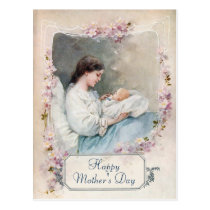 Vintage Customizable Mother and Newborn Postcard