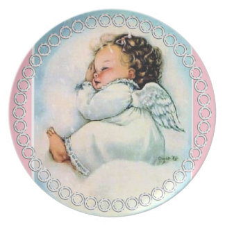 Vintage Cute Angel Sleeping on a Cloud pink white Plate