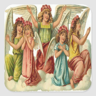 Vintage, Cute Angels Praying Square Sticker