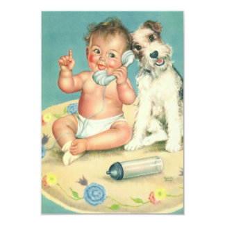 Vintage Cute Baby and Puppy Dog Change of Address Card