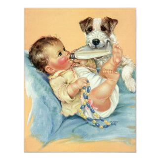 Vintage Cute Baby Bottle Puppy Dog, Baby Shower 4.25x5.5 Paper Invitation Card