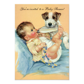 Vintage Cute Baby Bottle Puppy Dog, Baby Shower Card