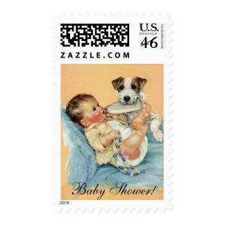 Vintage Cute Baby Boy Bottle Puppy Dog Baby Shower Postage Stamps