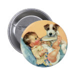 Vintage Cute Baby Boy with Bottle and Puppy Dog 2 Inch Round Button