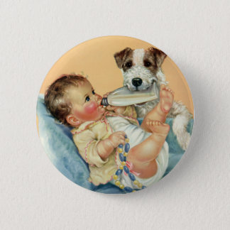 Vintage Cute Baby Boy with Bottle and Puppy Dog Button