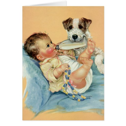 Vintage Cute Baby Boy with Bottle and Puppy Dog Card