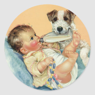 Vintage Cute Baby Boy with Bottle and Puppy Dog Classic Round Sticker