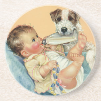 Vintage Cute Baby Boy with Bottle and Puppy Dog Beverage Coasters